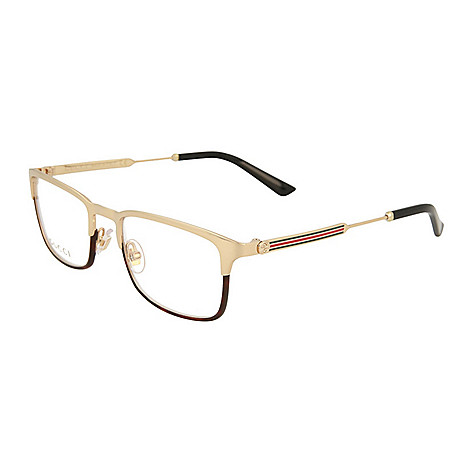 507c35333073c Gucci 52mm Square Frame Gold Tone Eyeglasses W Case Evine