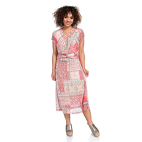 a6d4e78920b0 741-432- One World Mesh Surplice Neck Shirred & Twisted Midi Dress w/