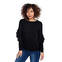 5a9ffaaf14e91 mōd x French Terry Knit Long Sleeve Cut-out Back Ruffled Sweatshirt