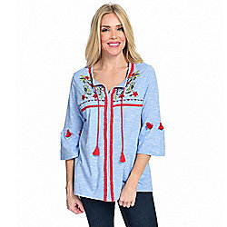 Under $10 at ShopHQ | 741-466 OSO Casuals® Knit 34 Bell Sleeve Tie-Neck Tassel Detailed & Embroidered Top - 741-466