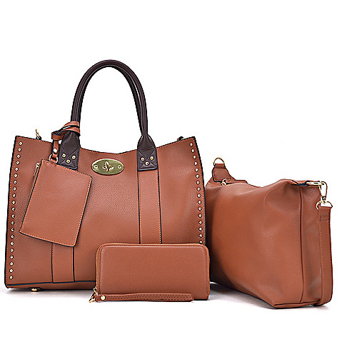 741 482 Dasein Faux Leather Tote Bag W Matching Wallet Wristlet
