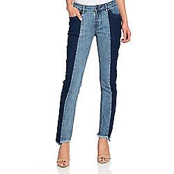 b9bd11464f mōd x Denim 5-Pocket Color Block Ankle-Length Straight Leg Jeans