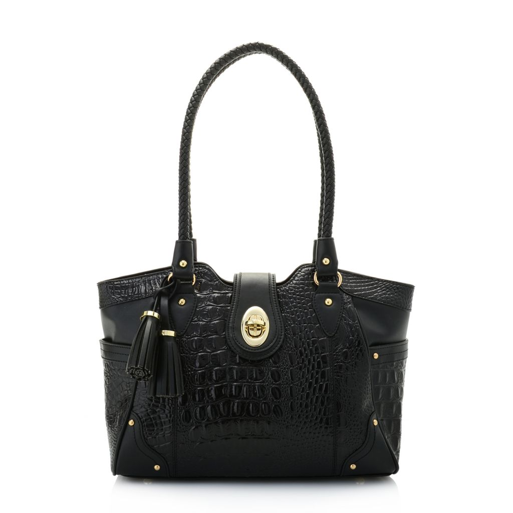 Madi Claire Alex Croco Embossed Leather Tassel Detailed Zip Top Tote Bag - 741-628