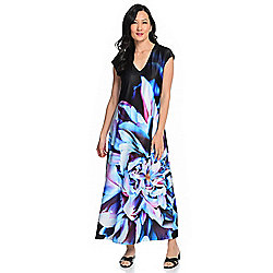 ecc862dfb1c Kate & Mallory® Printed Knit Extended Shoulder V-Neck Maxi Dress