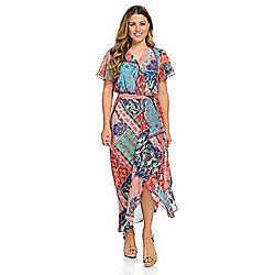 Skirts & Dresses - 741-681 One World Woven Chiffon Ruffle Detailed Knit Lined Midi Dress - 741-681