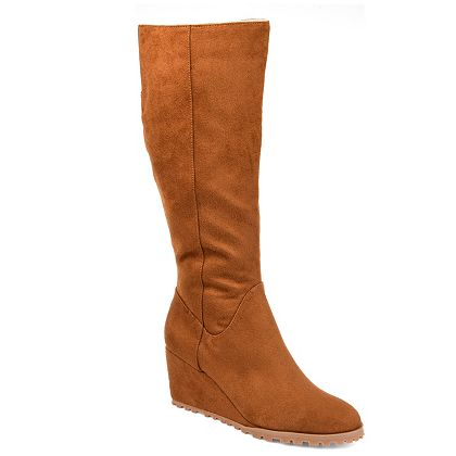 Big Discounts Great Web Exclusive Finds at ShopHQ 741-690 Journee Collection Parker Faux Suede Comfort Sole Wedge Knee-High Boots