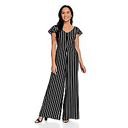 0d08a93dc3 mōd x Striped Woven Cap Sleeve V-Neck Cut-out Back Wide Leg Jumpsuit