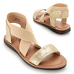 741-760 Corkys Boutique Adira Leather & Elastic Crisscross Strap Sandals - 741-760