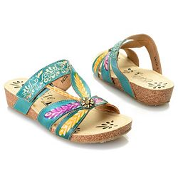 Five-Star Footwear Featuring Corkys & More 741-786 Corkys Elite Baltic Hand-Painted Leather Wedge Sandals - 741-786