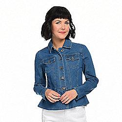 Under $40 at ShopHQ | 741-982 Kate & Mallory® Stretch Denim Pointed Collar 2-Pocket Ruffled Hem Jacket - 741-982