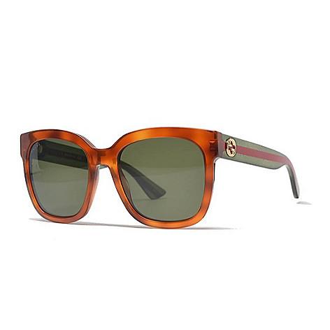 50016f6b9a0 742-012- Gucci 54mm Brown   Green Round Frame Sunglasses w  Case