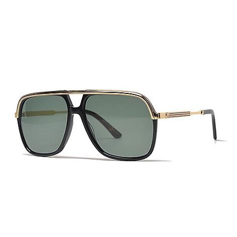 fb79da6c12 Gucci 57mm Black   Gold-tone Aviator Frame Sunglasses w  Case - EVINE