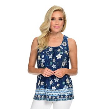 Tops Under $20 Stock up on Savings 742-024 Kim & Co. Venechia Sleeveless Ruched & Floral Printed Top - 742-024