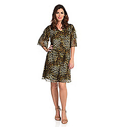 Dresses - 742-049 Kate & Mallory® Printed Mesh Tiered Elbow Sleeve V-Neck Knit Lined Dress - 742-049