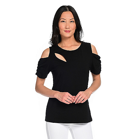 0c0e0e4bf4874e 742-112- Allure by Julia K. Stretch Knit Short Sleeve Ruched Cold Shoulder