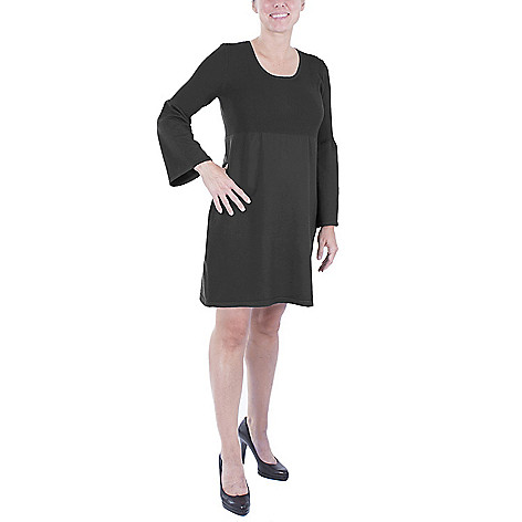 Ny Collection Petite Knit Bell Sleeve Empire Waist Scoop Neck
