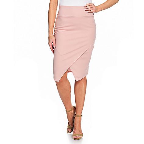 b80493328 742-405- Artizan Jersey Knit High Rise Waist Control Asymmetrical Wrap Hem  Midi Skirt