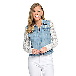 French Dressing Jeans Long Lace Sleeve 4-Pocket Embroidered Denim Jacket