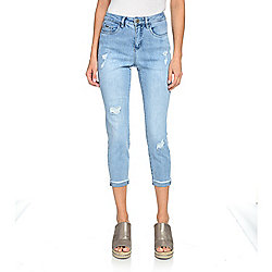 "French Dressing Jeans ""Olivia"" Stretch Denim Raw Edge Cuffed Hem Skinny Jeans"