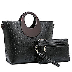 Image of product 742-634. QUICKVIEW. Dasein Ostrich   Croco Embossed Faux  Leather Rolled Ring Handle Satchel w  Matching Wristlet Pouch da8a60811116b