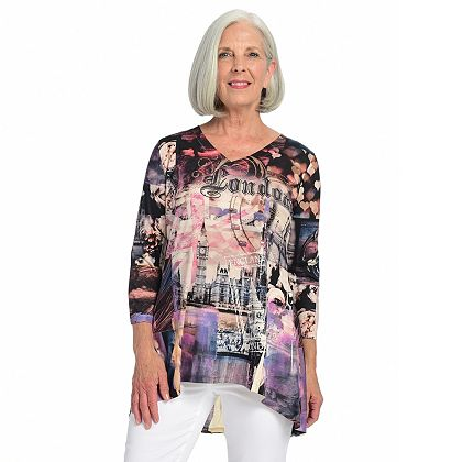 Today's Biggest Deals Daily Online Steals at ShopHQ | 742-639 One World Destination Printed Knit 34 Sleeve V-Neck Embellished Top