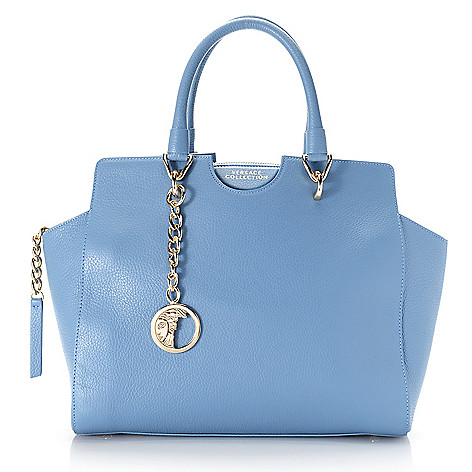 b212b341633 742-683- Versace Collection Pebbled Leather Medusa Medallion Zip Top  Satchel w/ Removable