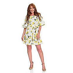 c417cc4609a mōd x Printed Woven 100% Cotton Elbow Sleeve Ruffled Dress