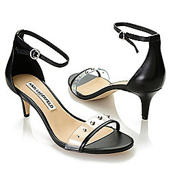 d03858239589 Image of product 742-789. QUICKVIEW. Karl Lagerfeld Leather Stud Detailed  Kitten Heel Sandals. BLACK