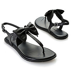 e163d93f0 Image of product 742-791. QUICKVIEW. Karl Lagerfeld Leather Buckle & Bow  Detailed Thong Sandals. BLACK