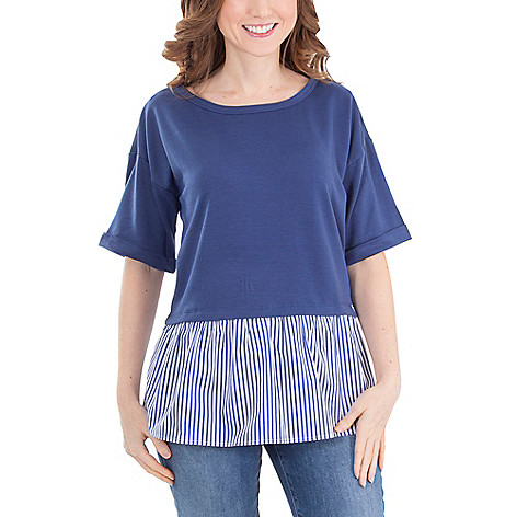 24ece4ec12d 742-855- NY Collection Petite Knit Elbow Sleeve Striped Peplum Layered Top