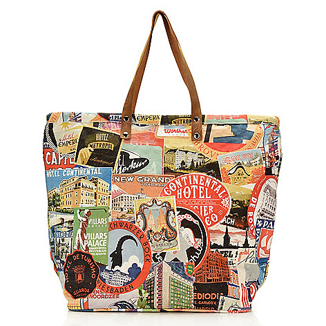 db630c58f 743-103- Debbie Martin Designs Printed Canvas & Leather Zip Top Tote Bag