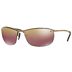 5a54871722 Ray-Ban Unisex 63mm Chromance Brown   Purple Rectangular Frame Polarized  Sunglasses w  Case