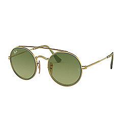 11cc0df875df5 Ray-Ban Unisex 52mm Retro Gold-tone   Green Round Frame Sunglasses w