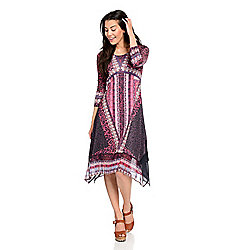 Dresses - 743-309 One World Printed Knit & Woven 34 Sleeve 4-Point Hem Midi Dress - 743-309