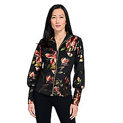 Marc Bouwer Metallic Printed Scuba Knit Standing Collar Zip Front Jacket