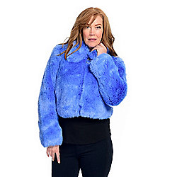 Donna Salyers' Fabulous-Furs Faux Fur 2-Pocket O-Ring Zip Front Cropped Jacket