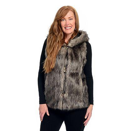 Comfy Fashion Finds - 743-363 Donna Salyers' Fabulous-Furs Faux Fur 2-Pocket Toggle Front Hooded Vest
