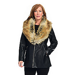 Donna Salyers' Fabulous-Furs Faux Leather Shawl Collar 2-Pocket Jacket