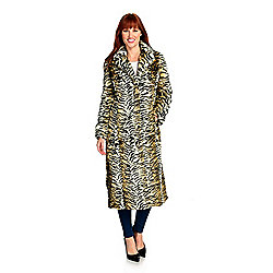 "Donna Salyers' Fabulous-Furs' ""Backstage"" Faux Fur Notch Collar Hook Front Coat"