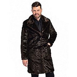 Donna Salyers' Fabulous-Furs Men's Faux Fur 3-Pocket Tailored Hook Front Coat