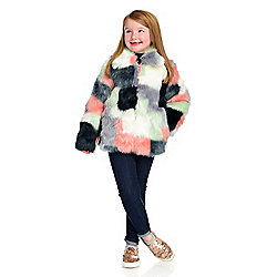 Donna Salyers' Fabulous-Furs Girl's Faux Fur 2-Pocket Zip Front Patchwork Jacket