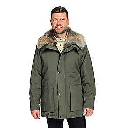 Donna Salyers' Fabulous-Furs Men's Woven 2-Pocket Faux Fur Lined Anorak Coat