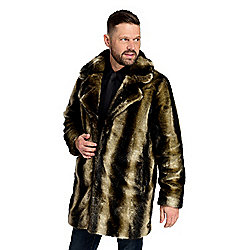 Donna Salyers' Fabulous Furs Men's Faux Fur Notch Collar Chinchilla Coat
