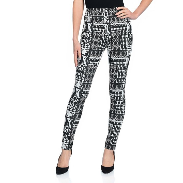 Fashion Sale & Clearance PRESALE - Savings of up to 60% - 743-502 Marc Bouwer Printed Knit Elastic Waist High Rise Pull-on Leggings