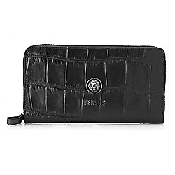 Wallets & Keychains - 743-515 Versus Versace Croco Embossed Leather Accordion-Style Zip Around Wallet - 743-515