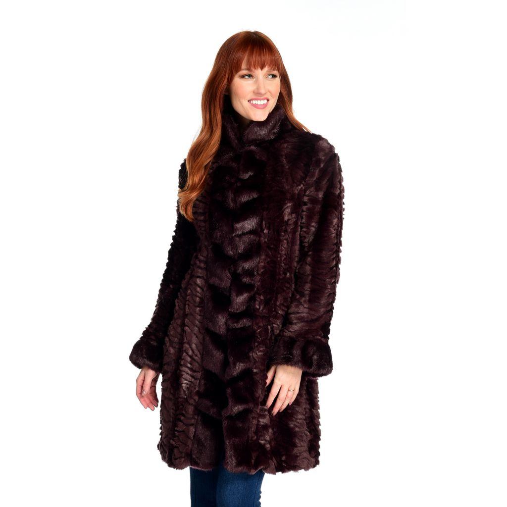 Donna Salyers' Fabulous-Furs Faux Fur Cascade Front Broadtail Stroller Coat - 743-530