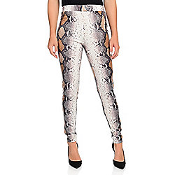 Slimming Options - 743-599 Kate & Mallory® Faux Snakeskin Printed Knit Elastic Waist Pull-on Leggings - 743-599