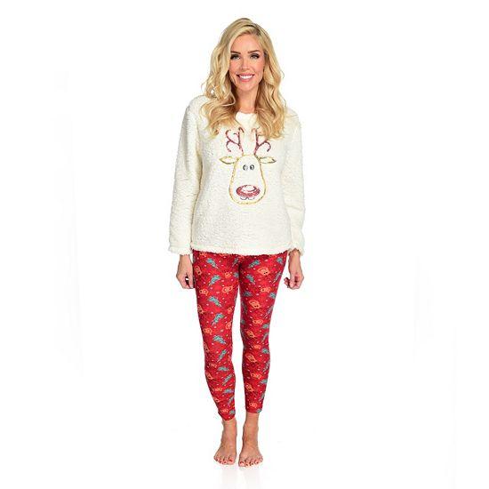 Holiday Loungewear -743-621 It's Just A Kiss Knit Sherpa Plush Long Sleeve Top & Leggings Pajama Set
