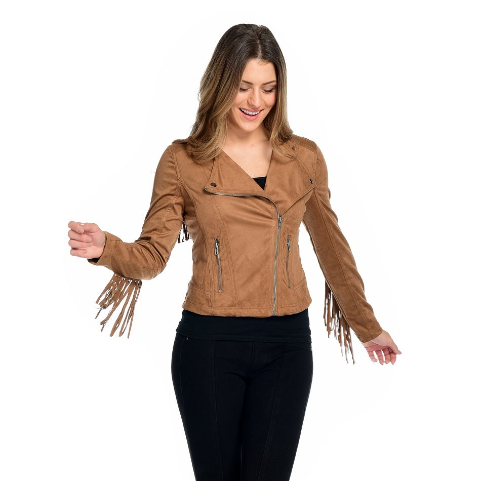 Day Break Deal at ShopHQ | 743-623 Faux Suede Convertible Collar 2-Pocket Fringed Moto Jacket