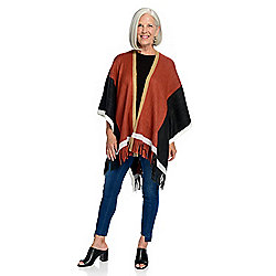 Harve Benard Knit Color Block Fringe Detailed Ruana Wrap